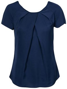 Pleat-neck blouse - closet - navy - blouses & shirts - clothing - women - n Classy Outfits, Casual Outfits, Pleated Shirt, Looks Plus Size, African Dresses For Women, Dress Sewing Patterns, Skirt Outfits, Blouse Designs, Chiffon Tops