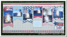 I adore the lace, and the red white & blue fringe, on this 2-page 4th of July scrapbook spread!