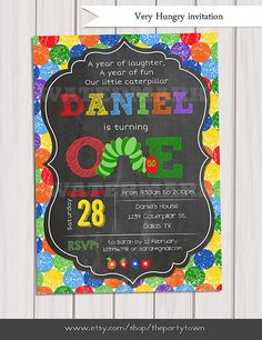 Very Hungry Caterpillar invitation, Chalkboard invite, 1st birthday, For Age One, Personalized Printable