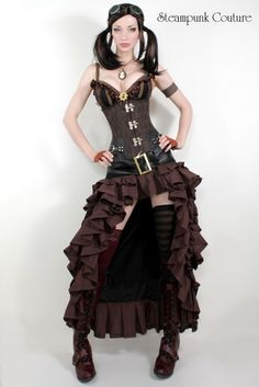 Black and brown Vex skirt - Steampunk Couture