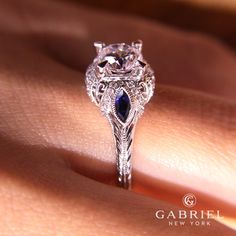 Gabriel & Co. - Voted #1 Most Preferred Fine Jewelry and Bridal Brand. Gorgeous antique Lexington 14k White Gold Engagement Ring- Halo cut with three stone -- two of which are sapphire.