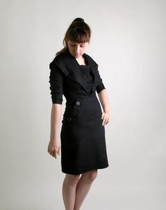 Vintage 1950s Wiggle Dress  Black Noir Button Fitted by zwzzy, $85.00