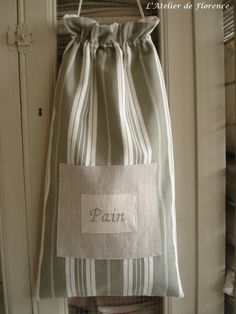 Sac à Pain rayé gris - Création L'atelier de Florence