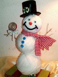Not your typical #snowman – this one is warm and fuzzy. :) Gather the kids and get crafty with leftover yarn!