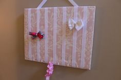 Hair Bow Holder Large Pink and White Damask - Organizer for Headbands, Hair Bows, Chunky Necklaces and Accessories Wooden Frame Board
