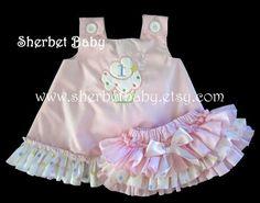 Pink and Polka Dots Ruffled Pinafore Set Sassy by SherbetBaby