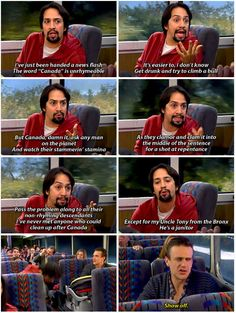 """And he wasn't just on HIMYM as any regular guest star. he was on as a special rapping guest star named Gus who had a lot to say about Canada. It's Time To Revisit The """"HIMYM"""" Episode Where """"Hamilton"""" Star Lin-Manuel Miranda Rapped On A Bus Hamilton Star, Hamilton Musical, Himym Episodes, Hamilton Lin Manuel Miranda, Alexander Hamilton, Alexander Lukashenko, Only Play, How I Met Your Mother, Fandoms"""
