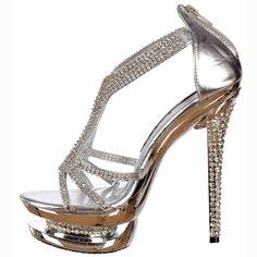 Ladies Ivory Crystal Platform Strappy Stiletto Heels Shoe Sandal Wedding Bridal | eBay