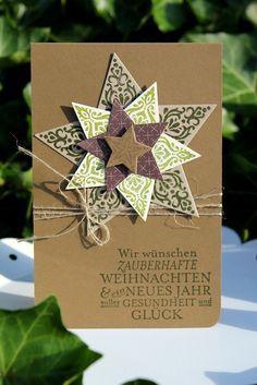 """Weihnachtskarte in Naturfarben mit Stampin` Up. Stempelset """"Zauber der Weihnacht"""" und Stanzen-Set """"Stern-Kollektion"""""""
