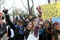 People demonstrate against new controls over the Internet approved by the Turkish Parliament in Ankara on February 22, 2014