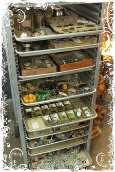 Repurposed Bakers Rack - this is a creative way to organize your supplies, offering lots of storage that's easy to see + the trays make a great workspace. Via My Desert Cottage Bead Storage, Craft Room Storage, Craft Organization, Craft Rooms, Jewelry Storage, Scrapbook Organization, Storage Ideas, Organizing Crafts, Jewelry Tray