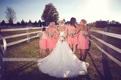 coral bridesmaid dresses, country vintage wedding, bridesmaid photo LOVE THIS COLOR!!