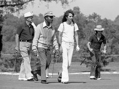 Rock star Alice Cooper, second from right, and playing partner Bobby Goldsboro, right, and others head out to the practice area at the Music City Pro-Celebrity Golf tournament at Harpeth Hills Golf Course on Oct. 11, 1974