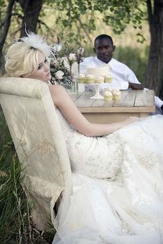 Bride + dinner table + chair