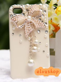 Bow-TIE pearl iphone4/4s case cover,Rhinestone iphone 4case back cover,exquisite iphone 4s case. $25.99, via Etsy.
