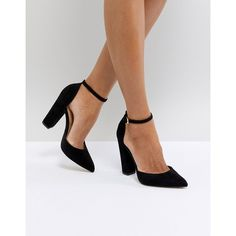 63189237761 ALDO Nicholes Black Ankle Strap High Heeled Pointed Shoe ( 100) ❤ liked on  Polyvore