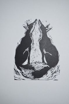 Inari, foxes, linocut