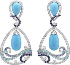 Vagues Turquoise earrings: Turquoise sapphires Paraíba-like tourmalines diamonds. Van Cleef Arpels, Van Cleef And Arpels Jewelry, Sapphire Earrings, Turquoise Earrings, High Jewelry, Unique Jewelry, Luxury Jewelry, Jewellery Sketches, Diamond Are A Girls Best Friend