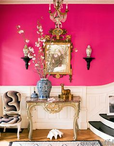 Hot pink wall + ginger jars