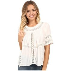 Amuse Society Clover Woven Short Sleeve Top (Casa Blanca) Women's... ($58) ❤ liked on Polyvore featuring tops, blouses, short sleeve pullover, loose blouse, pink pullover, pink blouse and crochet top