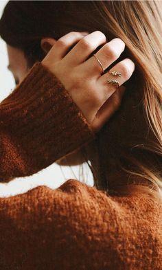 @kaetlyn.anne in her Olive Leaf + Stacker Rings