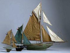 Group of Three Vintage Pond Yachts -  English c1900-1930.