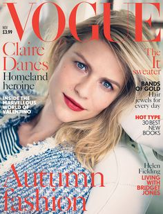 Claire Danes covers Vogue UK, November 2013. Lensed by Nathaniel Goldberg.