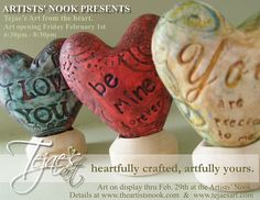Tejae's heart postcard for opening at the Artists Nook