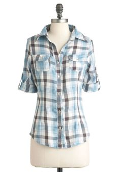 Everything is Great Lakes Top in Blue - Mid-length, Blue, Red, White, Plaid, Buttons, Pockets, Casual, Long Sleeve, Fall, Rustic