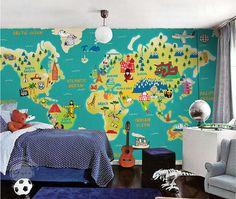 Etsy - All Sizes -- Children's World Map Wallpaper Wall Decal Art Children's Room Study Room Ocean Wall Paper Blue Green Yellow Wall Murals