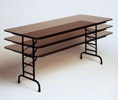 Correll Adjustable Height Folding Table Melamine CFA2460M