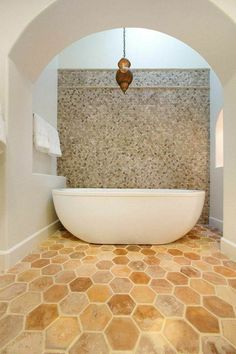 We are just in love with this floor concrete #tile and stone feature wall! A great update for any bathroom! #TileSensations