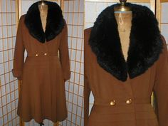 Vintage 40s Fitted Wool Gabardine Coat with Fur Collar by antique