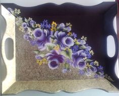 One Stroke Painting, Tole Painting, Painting On Wood, Decoupage Suitcase, Decoupage Box, Painted Trays, Hand Painted Furniture, Vintage Crafts, Felt Flowers