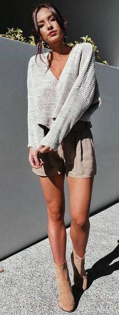#summer #outfits Grey V-neck Knit + Beige Short + Camel Suede Booties
