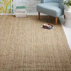 Dotted Jute Rug, Natural/Ivory, 8'x10'