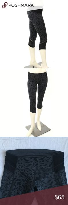 Lululemon Just Breathe Printed Crop Leggings Gray and black animal print cropped leggings in luxtreme fabric by Lululemon. Feature mesh detailing at bottom and subtly dotted fabric insets at waistband and cuffs. Features interior hidden waistband pocket. Excellent condition, no pilling! lululemon athletica Pants Leggings