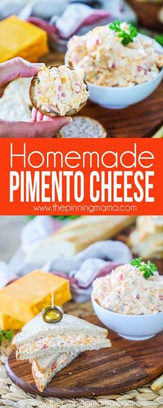 How to make Pimento Cheese the easy way! Modifications: (I made half recipe) less mayo, the onion flakes using powder instead, the pepper, slightly less pimentos Pimento Cheese Sandwiches, Homemade Pimento Cheese, Pimento Cheese Recipes, Whole Food Recipes, Cooking Recipes, Simple Recipes, Diabetic Recipes, Healthy Recipes