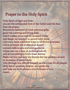 Prayers - Prayer to the Holy Spirit - Catholic Shopping .com