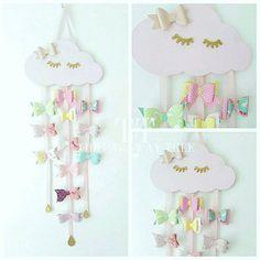 WOODEN CLOUD hair bow holder sleepy cloud pastel pink hair #GirlsBedroom