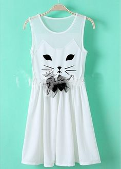 Cute cat bowknot dress  Size:S,M  Color:white