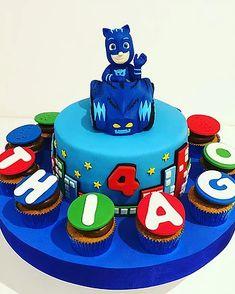 PJ Masks cake & cupcakes Birthday Cake, Cupcakes, Desserts, Kids, Food, Tailgate Desserts, Young Children, Cupcake Cakes, Deserts