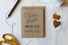 Rustic Kraft To Our Parents On Our Wedding Card  by Paperlaced