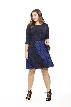 Black & Royal Floral Dress by Taylor Dresses  Available in sizes 10W-24W