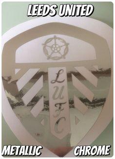 LEEDS UNITED FC  METALLIC  CHROME DIE CUT SELF ADHESIVE  10cm X 8CM  | eBay