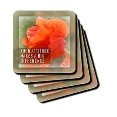 Framed Attitude Makes a Difference Poppy Inspirational Quotes - Coasters