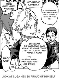 haikyuu suga hinata I krpt reading it as Black minus Sugawara Koushi, Daisuga, Kagehina, Kuroo, Kenma, Haikyuu Funny, Haikyuu Manga, Manga Anime, Dark Fantasy