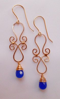 Items Similar To Mathilde Customizable Gemstone Chandelier Earrings Blue Wire Wrap Filigree Dangle Drop Personalized Mothers Day Bridesmaid Gift Idea For
