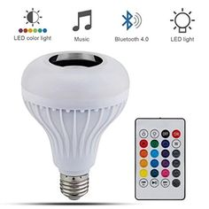 PaddSun LED Light Bulb with Integrated Bluetooth Speaker, RGB Changing Lamp Wireless Stereo Audio with 24 Keys Remote Control *** Check out this great product. (This is an affiliate link) Bluetooth, Buy Led Lights, Music Speakers, Light Music, Led Lamp, Lamp Light, Jouer, Ceiling Fans, Rings