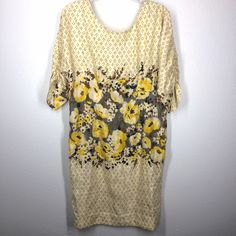 """Anthropologie Meadow Rue dress size 10 Beautiful yellow floral dress. Like a shift with tailoring around the waist. Bust 39"""". Waist 34"""". Shoulder to hem 40"""". Sleeve length 13"""". Anthropologie Dresses"""